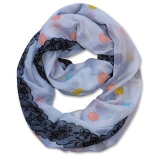 Peach Couture Multi Polka-dot Circle and Lace Print Infinity Loop Scarf (Periwinkle)