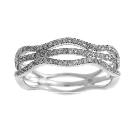 Azaro 18k White Gold 1/3ct TDW Diamond Wave Fashion Ring