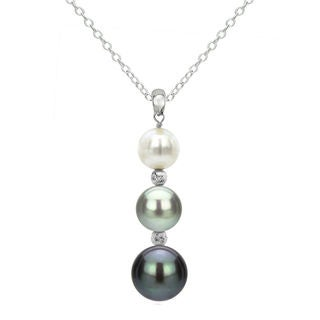 DaVonna Sterling Silver Multi Color Pearl and Beads Pendant Necklace