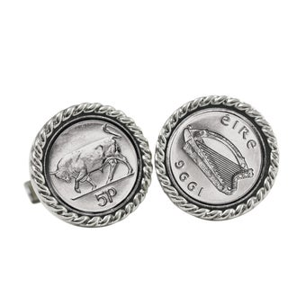 Irish Five Pence Money Clip and Cuff Links Gift Set