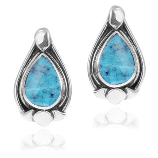 Journee Collection Sterling Silver Turquoise Drop Stud Earrings