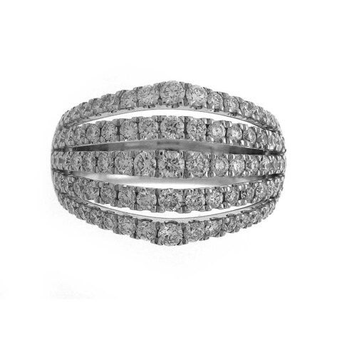 Azaro 18k White Gold 1 5/8ct TDW Diamond Multi-row Pave Fashion Ring