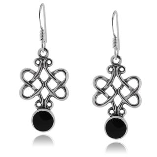 Journee Collection Sterling Silver Black Onyx Celtic Knot Earrings