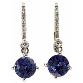 Kabella 14k White Gold Tanzanite and Diamonds Leverback Earrings