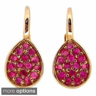 Kabella 14k Gold Ruby or Sapphire Pear-shaped Leverback Earrings