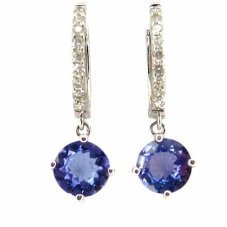 Kabella 14k White Gold Round-cut Tanzanite 1/5ct TDW Diamond Dangling Earrings (G-H, SI1-SI2)