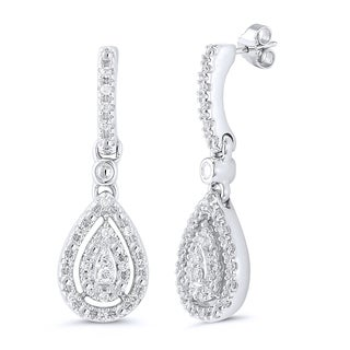Caressa Sterling Silver 1/7CT. T.W Composite Diamond Pear-shaped Drop Earrings