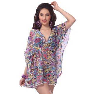La Leela Sheer Chiffon Dress Women Top Kaftan Beach Lounge Bikini Cover up Tunic Multi