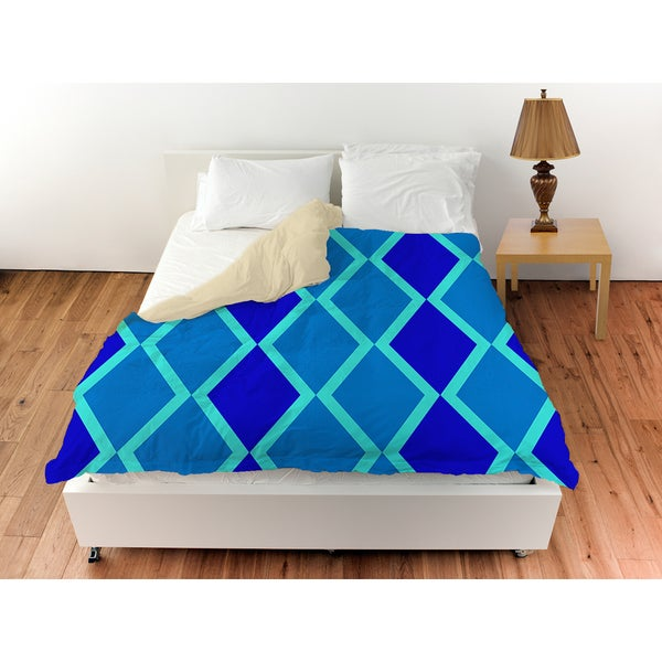 Neon Party Blue Geo Pattern Duvet Cover
