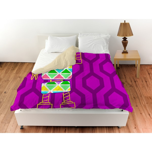 Neon Party Fuchsia Robot Duvet Cover