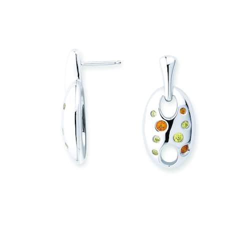 Lotopia 925 Sterling Silver Sterling Silver Golden Yellow Cubic Swarovski Zirconia Love Confetti Ear