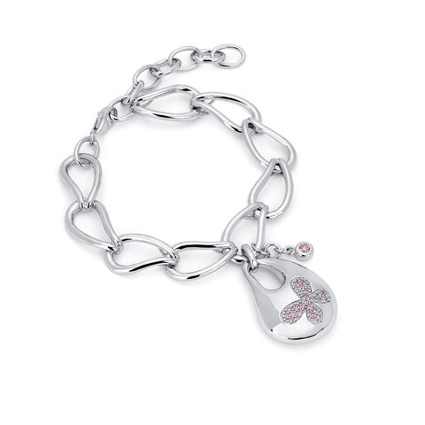 Lotopia 925 Sterling Silver Pink Swarovski elements Zirconia Bold Butterfly Bracelet