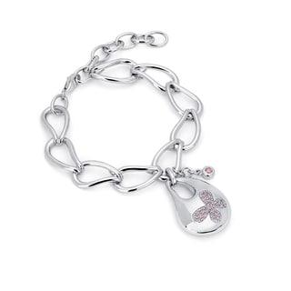 Sterling Silver Pink Swarovski Zirconia Bold Butterfly Bracelet