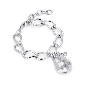 Lotopia 925 Sterling Silver Pink Swarovski Zirconia Bold Butterfly Bracelet