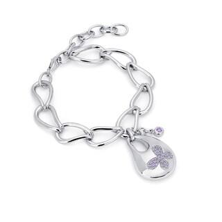 Sterling Silver Purple Swarovski Zirconia Bold Butterfly Bracelet
