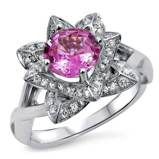 Noori 14k White Gold Round Pink Sapphire 2/5ct TDW Diamond Lotus Flower Engagement Ring (G-H, SI1-SI