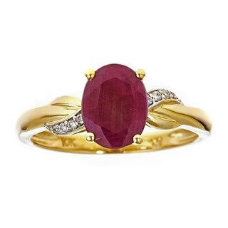 Anika and August 10k Yellow Gold Oval-cut Ruby and Diamond Accent Ring