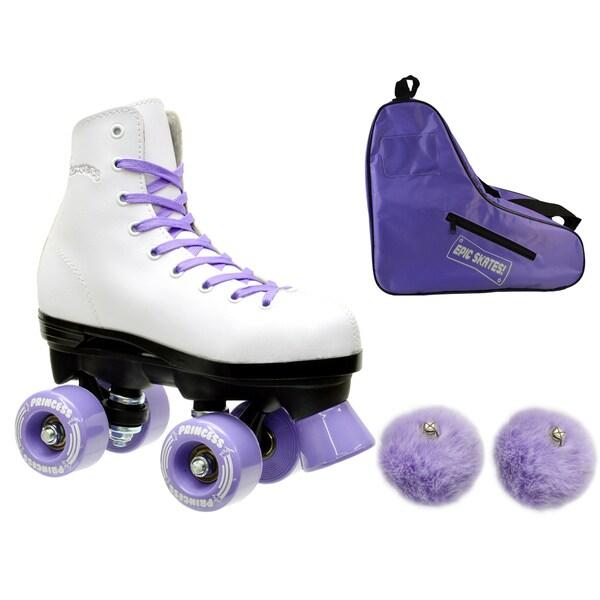 Epic Purple Princess Quad Roller Skates 3-piece Bundle