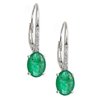 Anika and August 14K White Gold Emerald and Diamond Accent Earrings