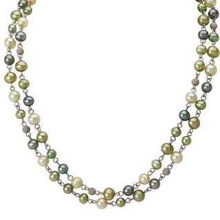 Avanti Sterling Silver Double Strand Mixed Green Pearl Necklace (6-7 mm)