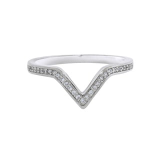 Eternally Haute Rhodium-plated Brass Cubic Zirconia Victory Ring