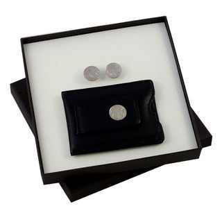 Buffalo Nickel Cuff Links and Black Leather Wallet Style Money Clip Set