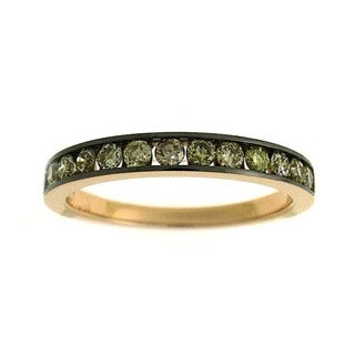 Azaro 18k Rose Gold 1/2ct TDW Mixed Brown/ Green Diamond Band