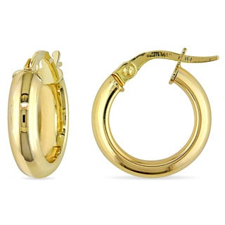 Miadora 10k Yellow Gold Polished Italian Hoop Earrings