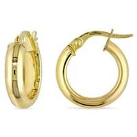Miadora 10k Yellow Gold Polished Italian Hoop Earrings