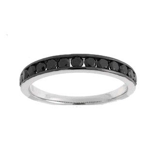Azaro 18k White Gold 1/2ct TDW Black Diamond Band