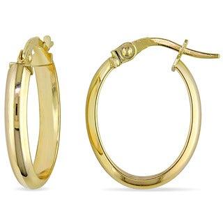 Miadora 10k Yellow Gold Oval Italian Hoop Earrings