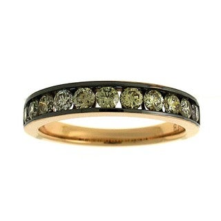 Azaro 18k Pink Gold 3/4ct TDW Mixed Diamond Band