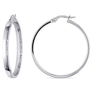 Miadora 10k White Gold Italian Hoop Earrings