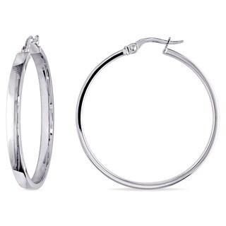 Miadora 10k White Gold Italian Hoop Earrings