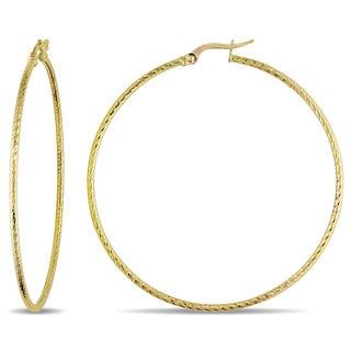 Miadora 10k Yellow Gold Twisted Italian 55mm Hoop Earrings