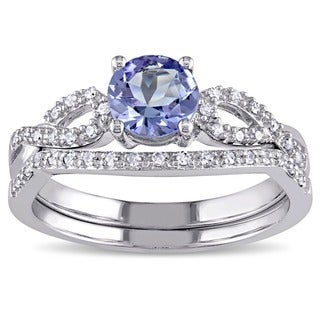 Miadora 10k White Gold Tanzanite and 1/6ct TDW Diamond Bridal Ring Set