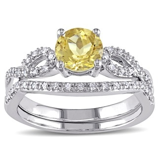 Miadora 10k White Gold Yellow Beryl and 1/6ct TDW Diamond Bridal Ring Set (G-H, I1-I2)