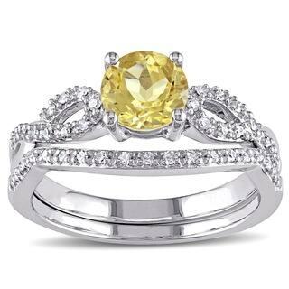 Miadora 10k White Gold Yellow Beryl and 1/6ct TDW Diamond Bridal Ring Set (G-H, I1-I2)|https://ak1.ostkcdn.com/images/products/10112129/P17251750.jpg?impolicy=medium