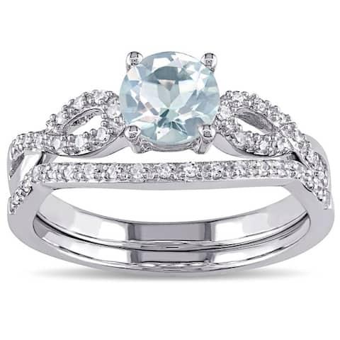 Miadora 10k White Gold Aquamarine and 1/6ct TDW Diamond Bridal Ring Set (G-H, I1-I2) - Blue