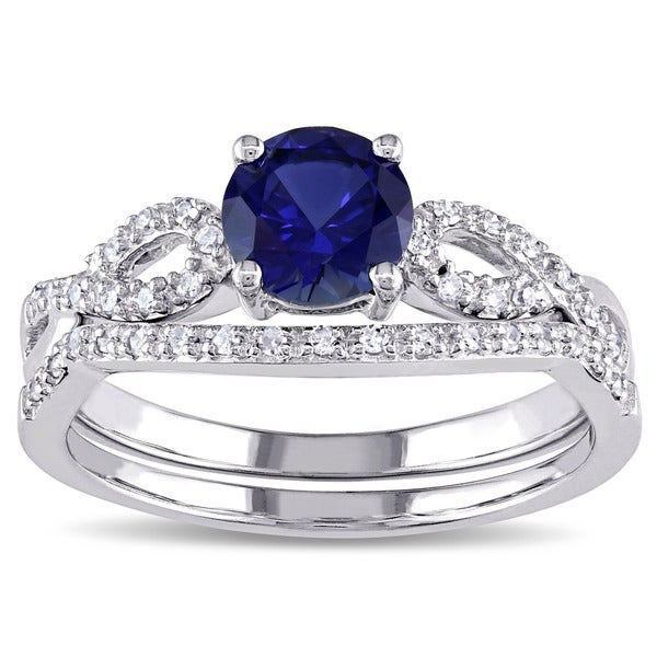 Miadora 10k White Gold Created Blue Sapphire and 1/6ct TDW Diamond Bridal Ring Set