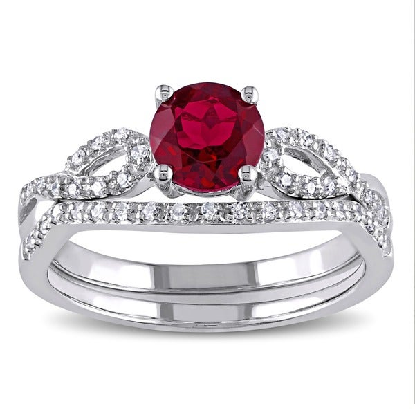 Miadora 10k White Gold Created Ruby and 1/6ct TDW Diamond Bridal Ring Set