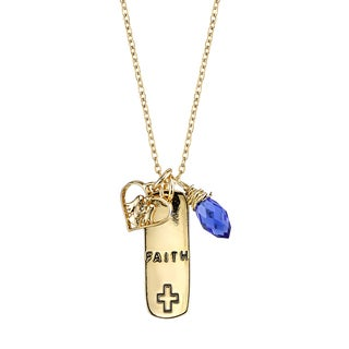 """Inspirational Gold tone Brass and Blue Crystal Pendant:"""" Faith"""""""