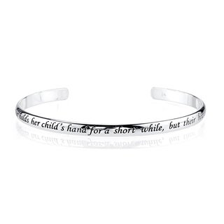 Silvertone Brass 'A mother holds her children's hand...' Inspirational Open Bangle