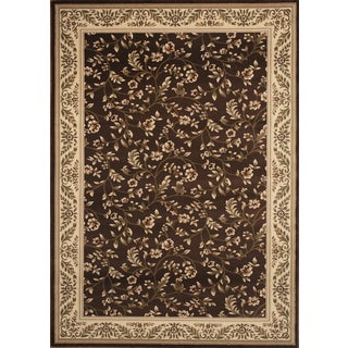 Floral Brown Transitional High Quality Area Rug
