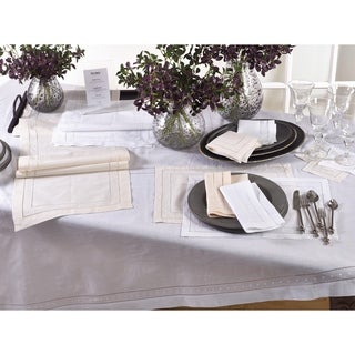 Embroidered and Hemstitched Linen Blend Placemat - set of 4