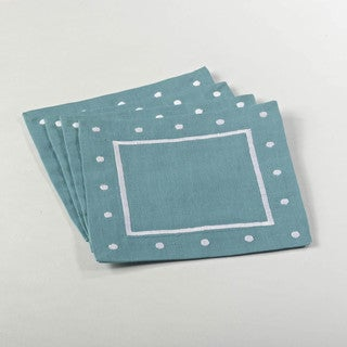 Embroidered Coaster with Dotted Border (set of 4)