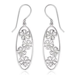 La Preciosa Sterling Silver Oval Flower Dangle Earrings