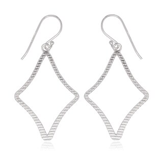La Preciosa Sterling Silver Diamond-shaped Dangle Earrings