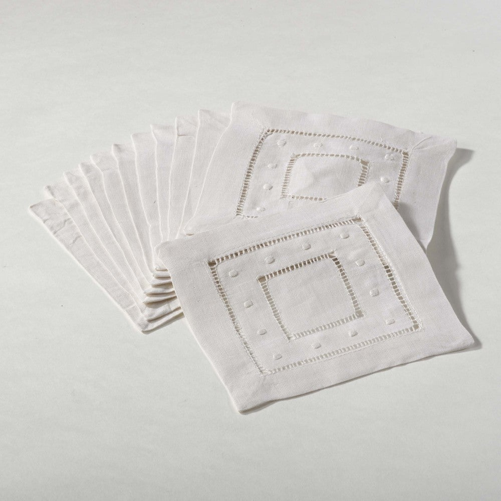 Shop Embroidered Dot and Hemstitched Cocktail Napkin (Set of 12) - Overstock - 10112371