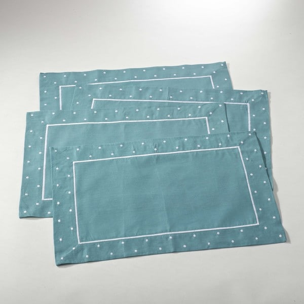 Embroidered Linen Blend Placemat with Dotted Border - set of 4
